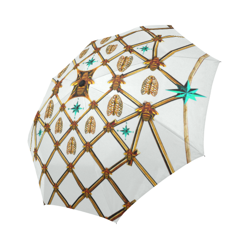 Bee Divergence Gilded Ribs & Teal Stars- Semi & Auto Foldable French Gothic Umbrella in Lightest Gray | Le Leanian™