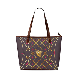 Skull and Magenta Stars-Honey Bee Pattern- Classic Shoulder Tote in Neutral Eggplant Wine, Neutral Purple