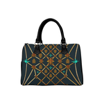 Gilded Bees & Ribs- French Gothic Boston Handbag in Midnight Teal | Le Leanian™
