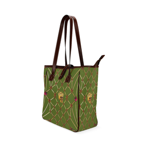 Skull & Honeycomb- Classic French Gothic Upscale Tote Bag in Bold Olive | Le Leanian™