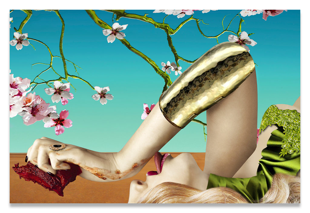 Surreal Portrait of a Woman Tasting a Steak under Almond Blossoms.