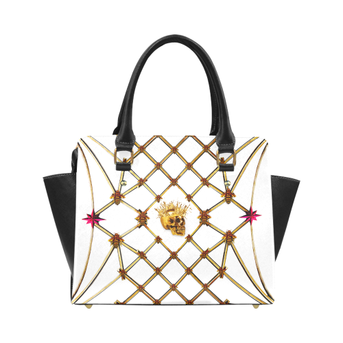 Skull and Honey Bee-Honeycomb Pattern-Magenta Stars- Classic Satchel Hand Bag in Color White