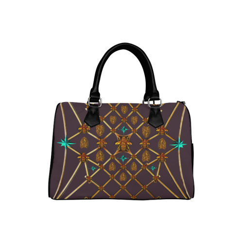 Gilded Bees & Ribs- French Gothic Boston Handbag in Muted Eggplant Wine | Le Leanian™