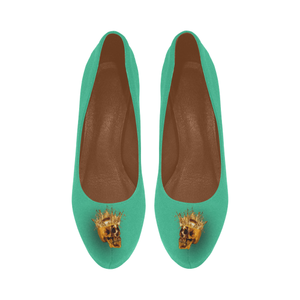 Dripping in Gold Skull & Cross- Women's French Gothic Heels in Bold Jade Teal-Peep Heel | Le Leanian™