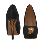 Black Gold Skull and Crucifix Women's High Heel Shoes.