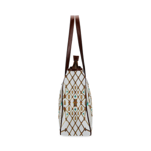 Gilded Bees & Ribs- Classic French Gothic Upscale Tote Bag in Lightest Gray | Le Leanian™