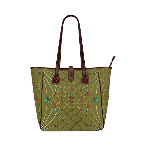 Gilded Bees & Ribs- Classic French Gothic Upscale Tote Bag in Bold Olive | Le Leanian™