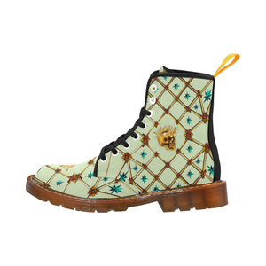 Golden Skull & Teal Stars- Women's French Gothic Combat  Boots in Pale Green | Le Leanian™
