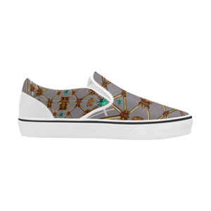 Bee Divergence Ribs & Teal Stars- Women's French Gothic Slip-On Sneakers in Lavender Steel | Le Leanian™