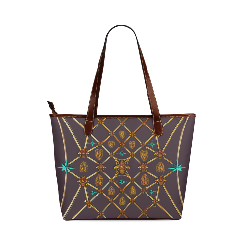 Gilded Bees & Ribs- Classic French Gothic Tote in Muted Eggplant Wine | Le Leanian™