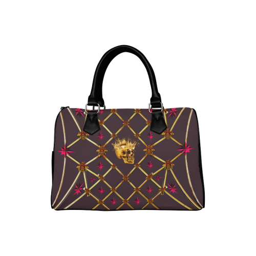 Skull & Stars- French Gothic Boston Handbag in Muted Eggplant Wine | Le Leanian™