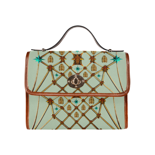 Gold Bee & Ribs- Women's Clutch Handbag in Color Pastel BLUE and Tan
