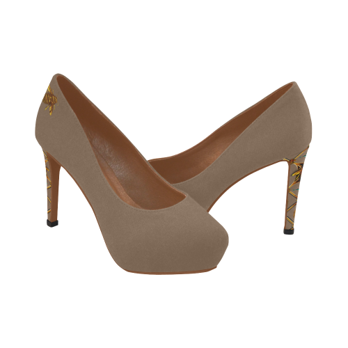 Honey Bee and Jeweled Women's High Heels in Camel-Neutral-Tan