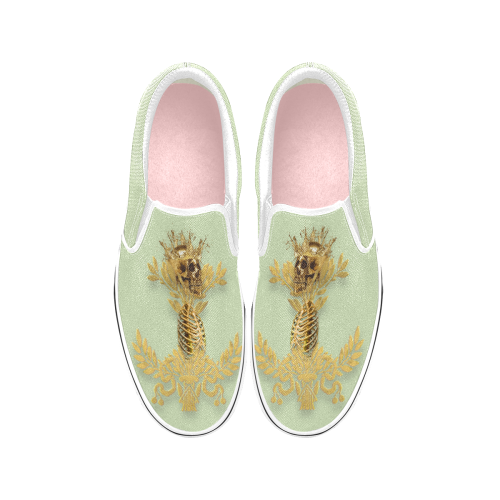 Caesar Skull Relief- Women's French Gothic Slip-On Sneakers in Pale Green | Le Leanian™