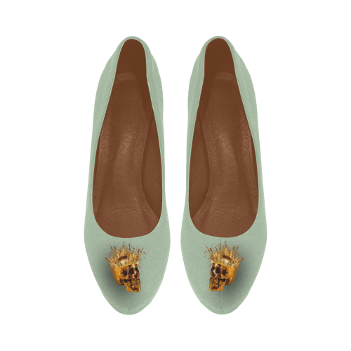 Women's Crucifix and Skull High Heel Shoes- in Color Pastel BLUE