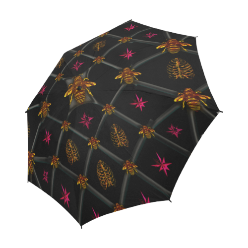 Semi Auto Folding UMBRELLA-BEE RIBS PINK STARS- Color BLACK