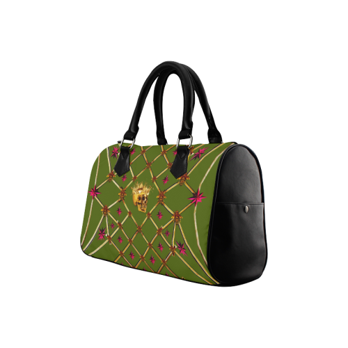 Skull & Stars- French Gothic Boston Handbag in Bold Olive | Le Leanian™