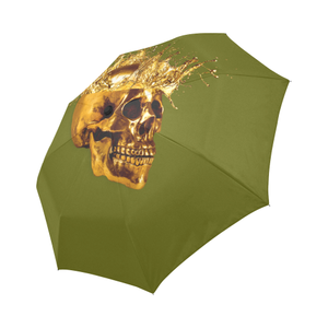 Cirque- Circus Metallic Gold Skull Umbrella- in Color Solid Olive GREEN