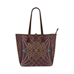 Women's Honey Bee, Ribs, Blue Star Pattern- Shoulder Tote in Color Eggplant Wine, WINE PURPLE- RED