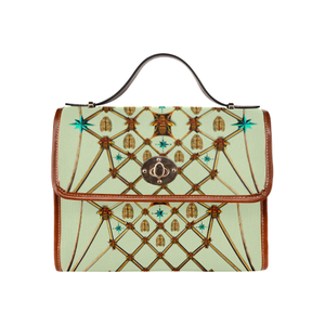 Gilded Bees & Ribs- Classic French Gothic Mini Brief Handbag in Pale Green | Le Leanian™