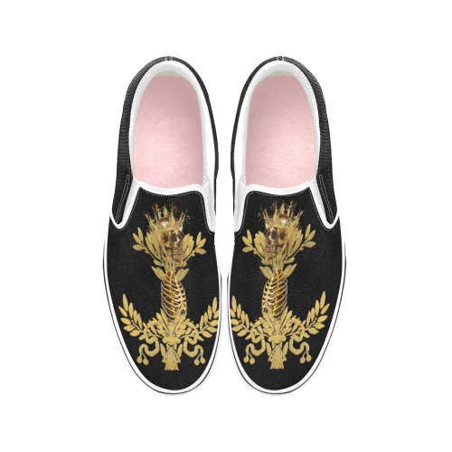 Women's Gold Wreath-Gold Skull and Ribs-Slip-On Sneakers-Vans- Color BLACK