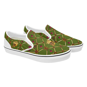 Skull & Magenta Stars- Women's French Gothic Slip-On Sneakers in Bold Olive | Le Leanian™