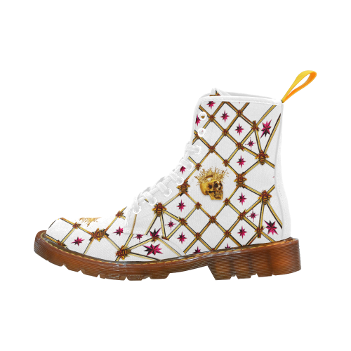 Golden Skull & Magenta Stars- Women's French Gothic Combat  Boots in White on White | Le Leanian™