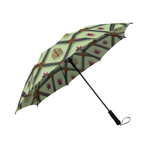 Bee Divergent Ribs & Stars- Semi Auto Foldable French Gothic Umbrella in Light Green | Le Leanian™