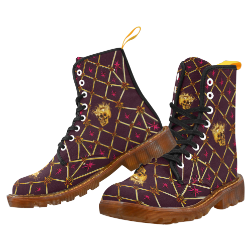 Women's Gold Skull and Magenta Stars- Marten Boots- Lace-Up Combat Boots in Color Eggplant Wine, Purple, Wine Red