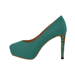 Gilded Bee Hive- Women's French Gothic Heels in Jade | Le Leanian™