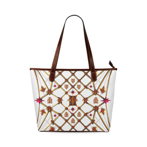 Women's Honey Bee, Ribs, Magenta Star Pattern- Shoulder Tote in Color WHITE