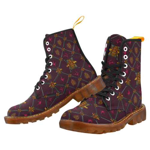 Women's Marten Style Military Boot- BEE RIBS STAR Pattern-Color EGGPLANT WINE, WINE RED, BLOOD PURPLE