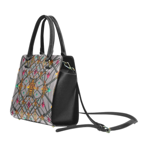 Bee Divergent Abstract- Classic French Gothic Riveted Satchel Handbag in Lavender Steel | Le Leanian™