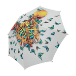 Siamese Skeleton Custom Umbrella- Blue Butterflies- Fashion Umbrella in Color Lightest Gray- Gray