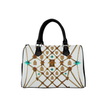 Gilded Bees & Ribs- French Gothic Boston Handbag in Lightest Gray | Le Leanian™