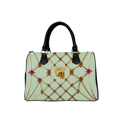 Gold Skull and Honey Bee- Punk-Classic Boston Handbag in Color Pastel Blue and Black