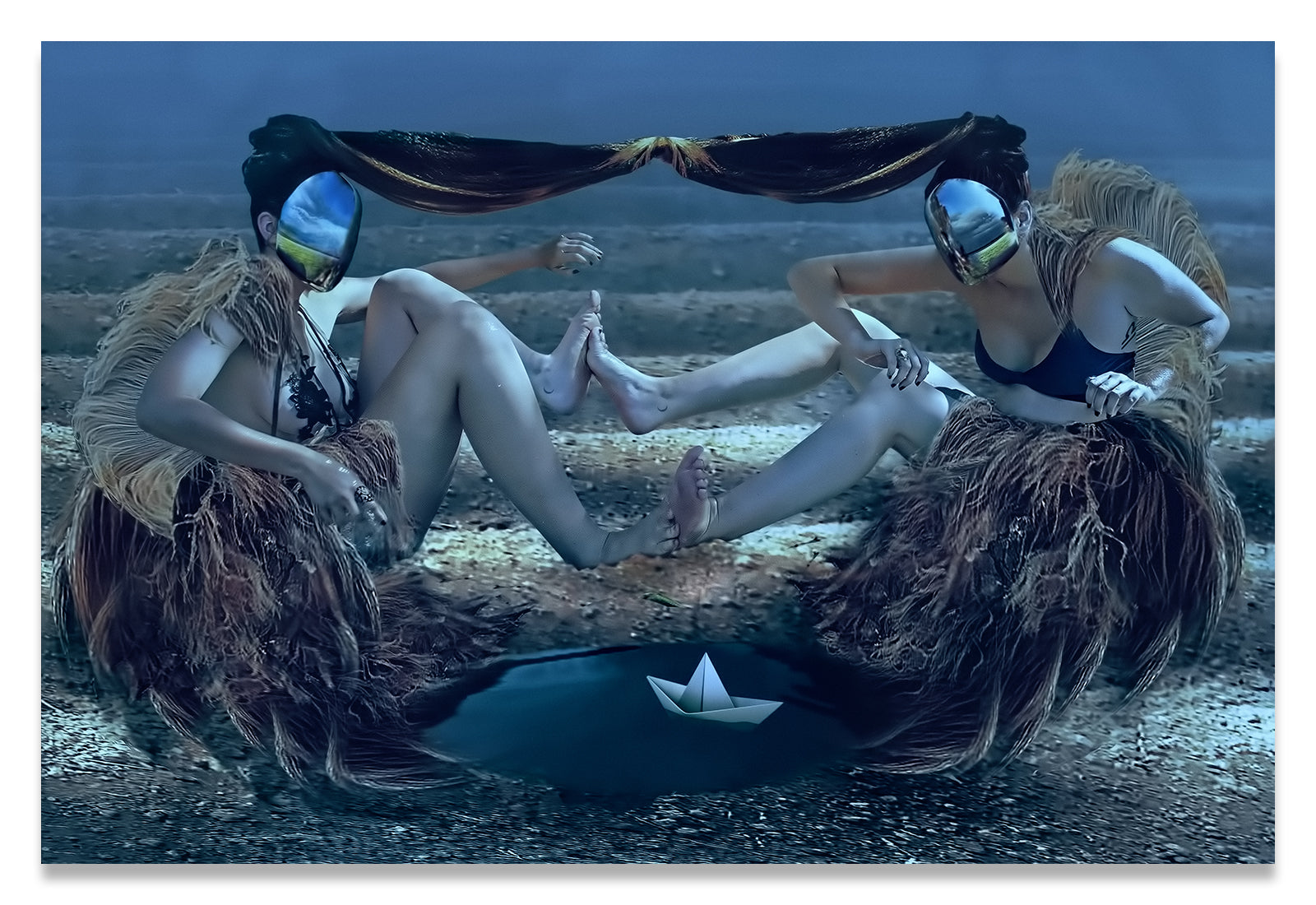 Fantastic Planet-1973- Surreal Portrait of Two Women in Agricultural Rows- Aluminum Metal Print.
