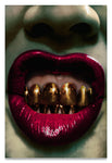 Surreal- Close Up of Crimson Red Lips with Solid Gold Teeth in an Energetic Expression.