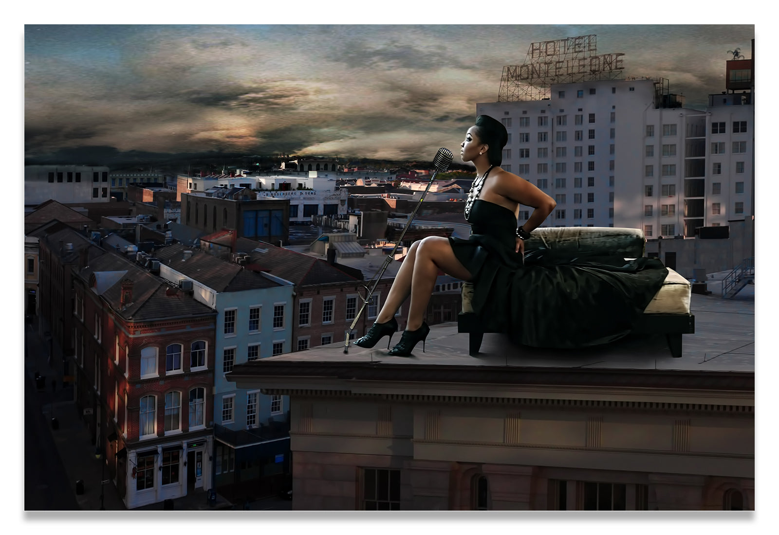 Louisiana Musician atop a roof overlooking the French Quarter-Metal Print-Aluminum
