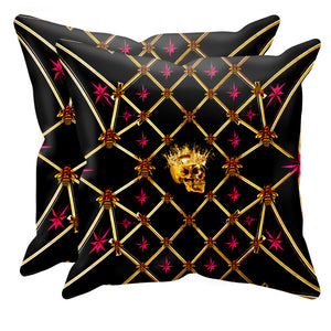 Golden Skull & Magenta Stars- Sets & Singles Pillowcase in Back to Black | Le Leanian™