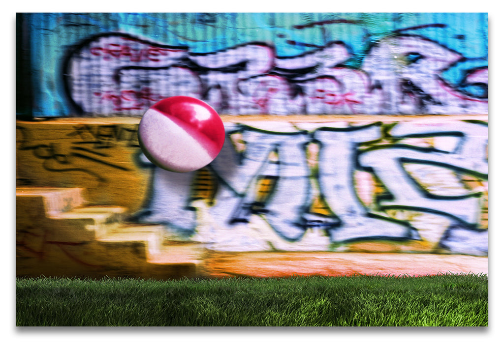 A Colorful Beachball in Mid Air Against a Graffiti Background at Griffith Park-Los Angeles-Metal Print-Aluminum