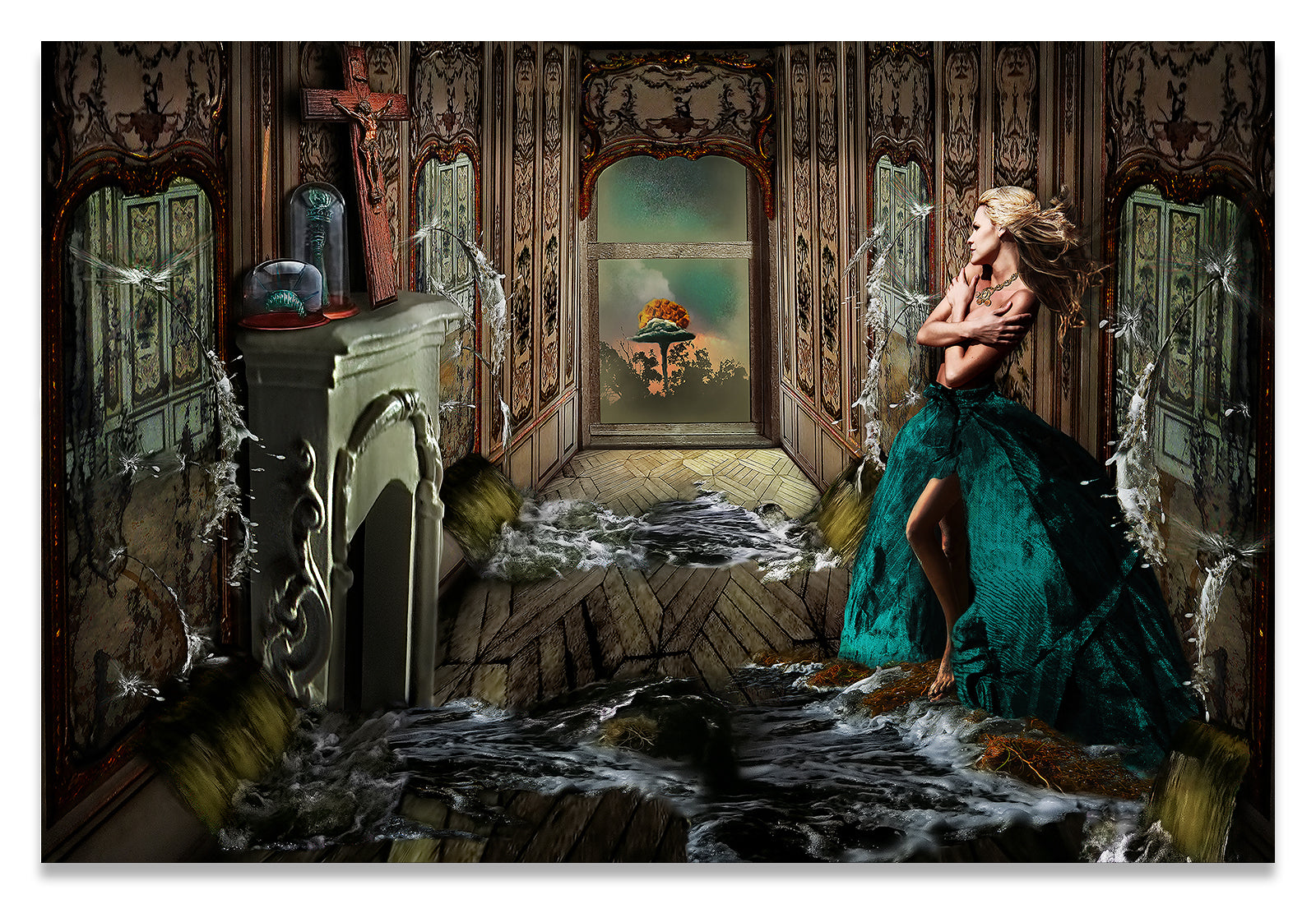Woman in a room being flooded with water from mirrors on all sides with an atom bomb going off outside-Metal Print-Aluminum