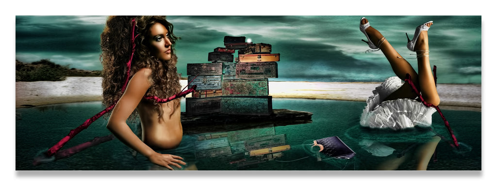 Louii Vuitton vs Salvador Dali- Disjointed Woman Floating in Water with Red Crutches and Surreal Clouds-Metal Print-Aluminum Print