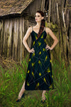 V Neck Slip Dress- Green Sparrow, Bird on a Wire Pattern- Color in Midnight Teal, Navy Blue, Blue