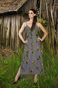 V Neck Slip Dress- Green Sparrow, Bird on a Wire Pattern- Color in Lavender Steel, Neutral Lavender, Purple