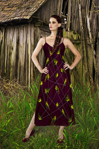 V Neck Slip Dress- Green Sparrow, Bird on a Wire Pattern- Color in Eggplant Wine, Wine Red, Blood Purple