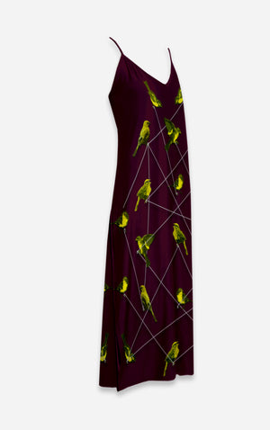 Make Me A Bird- French Gothic V Neck Slip Dress on Eggplant Wine | Le Leanian™