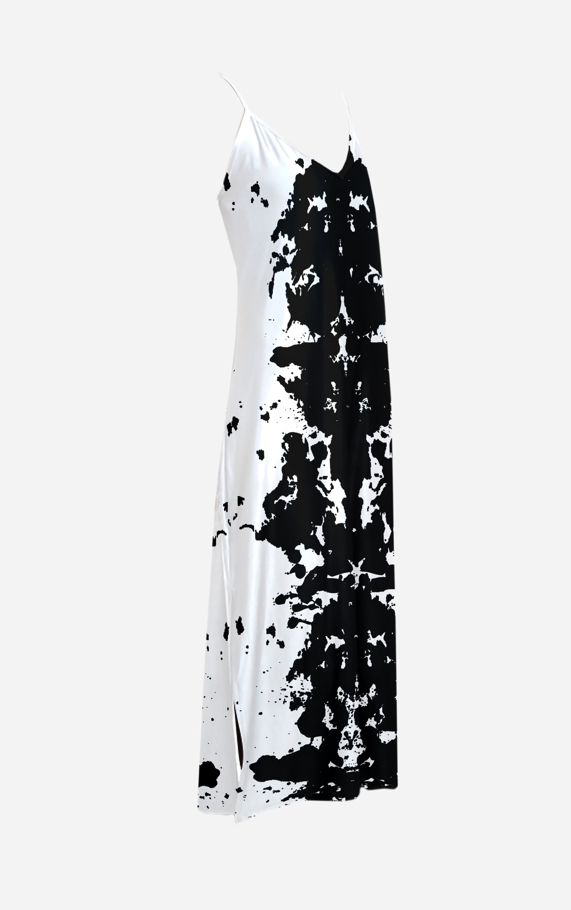 Ink Blot- French Gothic V Neck Slip Dress in Back to Black | Le Leanian™