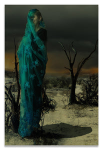Mother wrapped in Byzantine Blue Lace in a Barren Apocalyptic Landscape- Metal Print-Aluminum Print