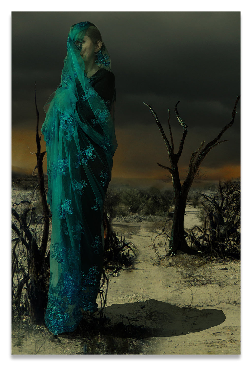 Mother wrapped in Byzantine Blue Lace in a Barren Apocalyptic Landscape-Fine Art Canvas Print
